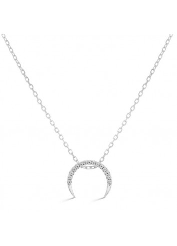 Collar Luxenter Mujer NH0440000 Plata Kundezi Media Luna Invertida Circonitas